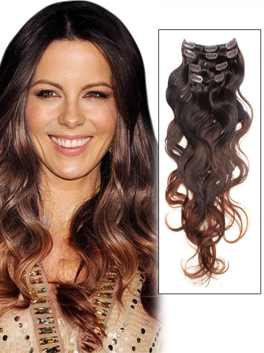 32 Inch Elaborate Ombre Clip In Hair Extensions Three Tone Body Wave 9 Pieces