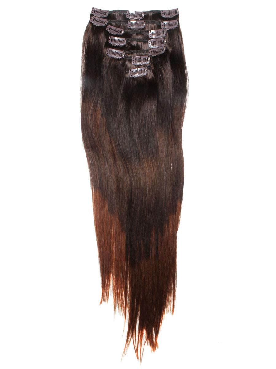 32 Inch Elegant Ombre Clip In Hair Extensions Three Tone Straight 9 Pieces no 2