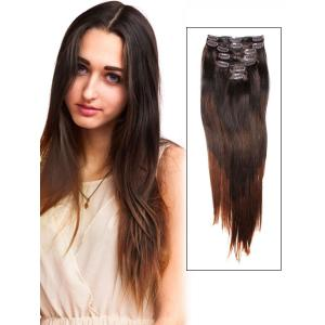 32 Inch Elegant Ombre Clip In Hair Extensions Three Tone Straight 9 Pieces