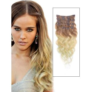 32 Inch Fancy Three Colors Ombre Clip In Indian Remy Hair Extensions Body Wave 9pcs