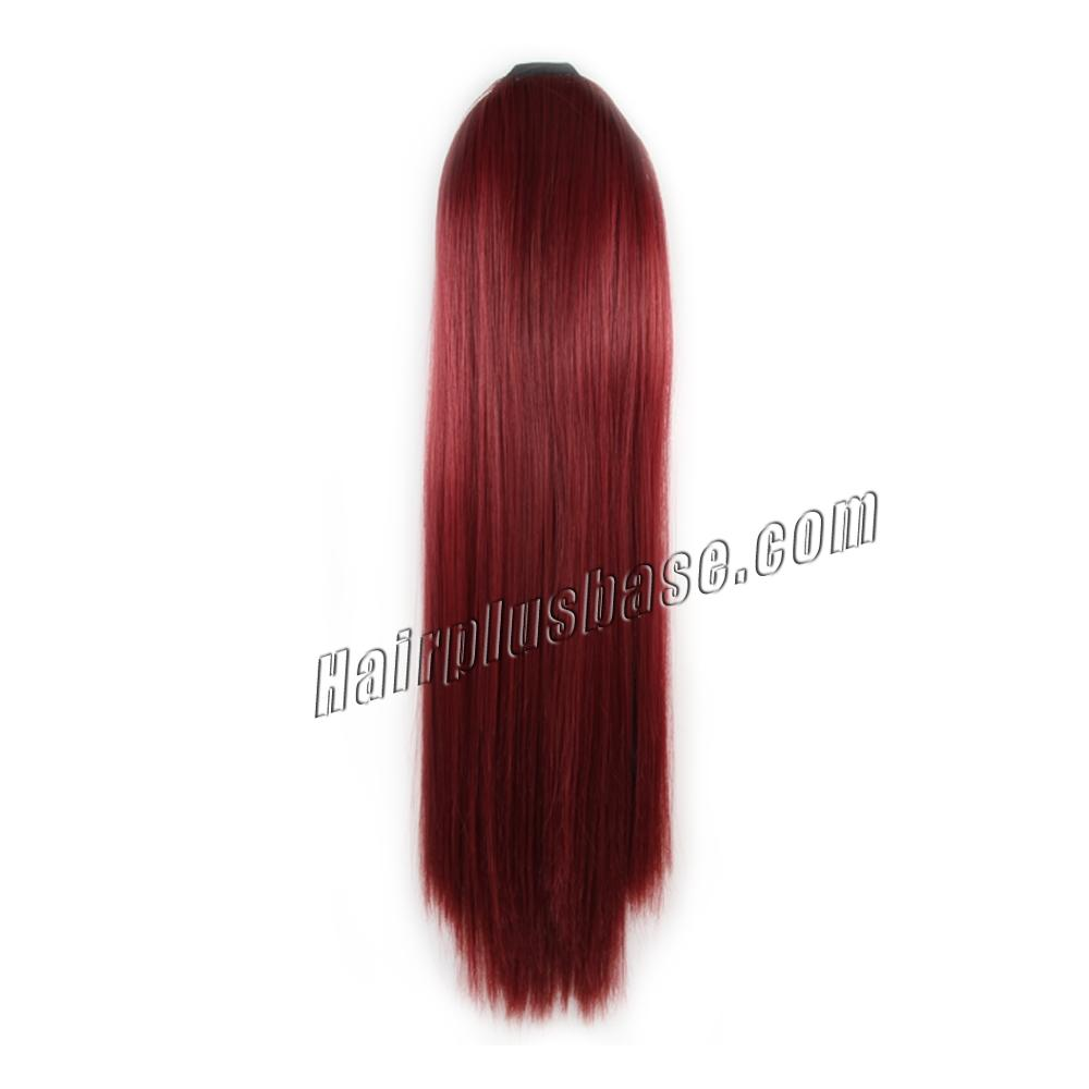 32 Inch Fashion Lace/Ribbon Human Hair Ponytail Straight Red no 1