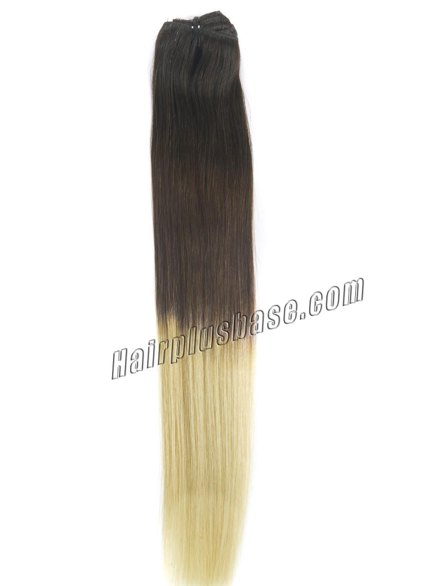 32 Inch Fashionable Three Colors Ombre Indian Remy Clip In Hair Extensions Straight 9pcs no 1
