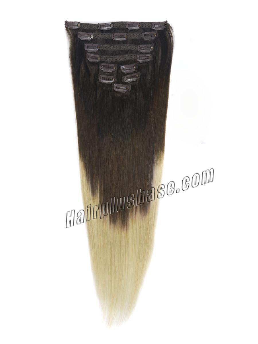 32 Inch Fashionable Three Colors Ombre Indian Remy Clip In Hair Extensions Straight 9pcs no 2