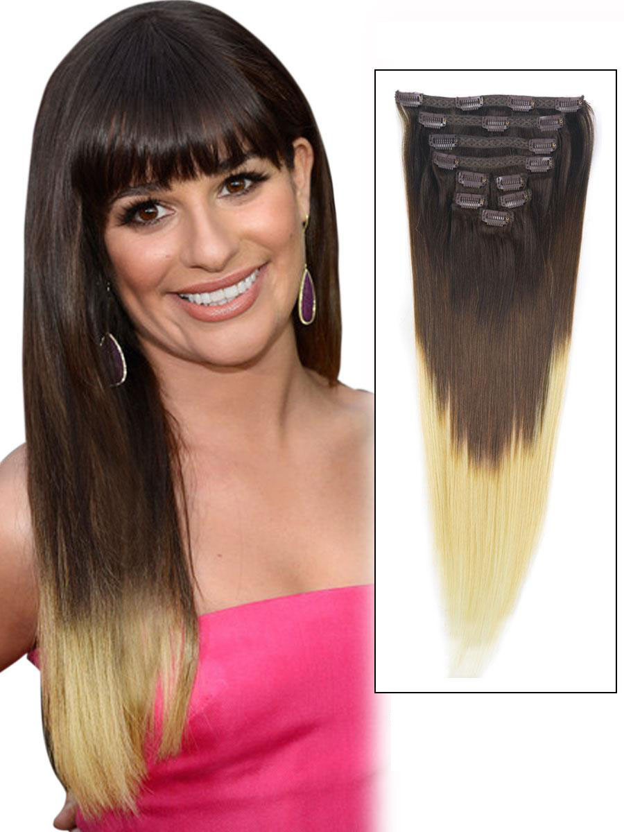 32 Inch Fashionable Three Colors Ombre Indian Remy Clip In Hair Extensions Straight 9pcs