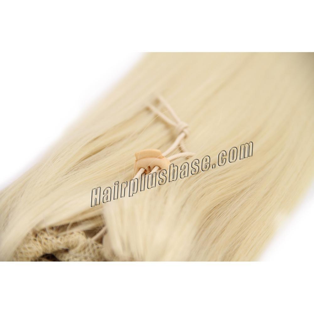 32 Inch Fine Drawstring Human Hair Ponytail Straight #613 Bleach Blonde no 2