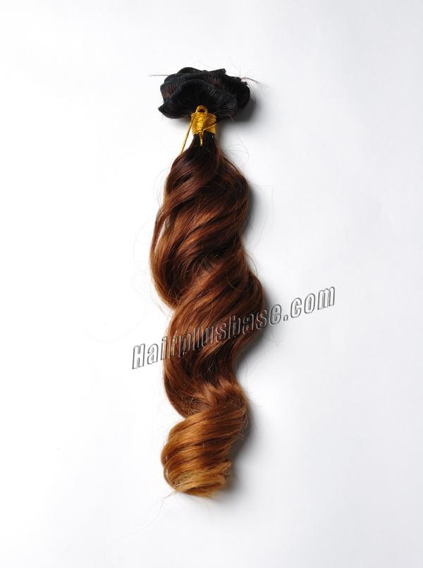 32 Inch Golden Ombre Clip In Human Hair Extensions Three Tone Body Wave 9pcs no 1
