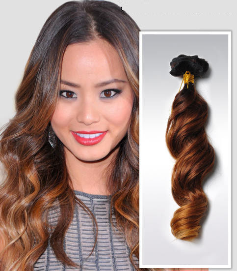32 Inch Golden Ombre Clip In Human Hair Extensions Three Tone Body Wave 9pcs