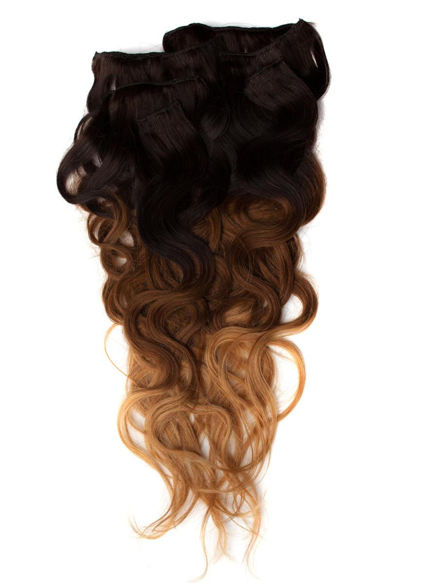 32 Inch Graceful Ombre Clip In Hair Extensions Three Tone Body Wave 9 Pieces no 1