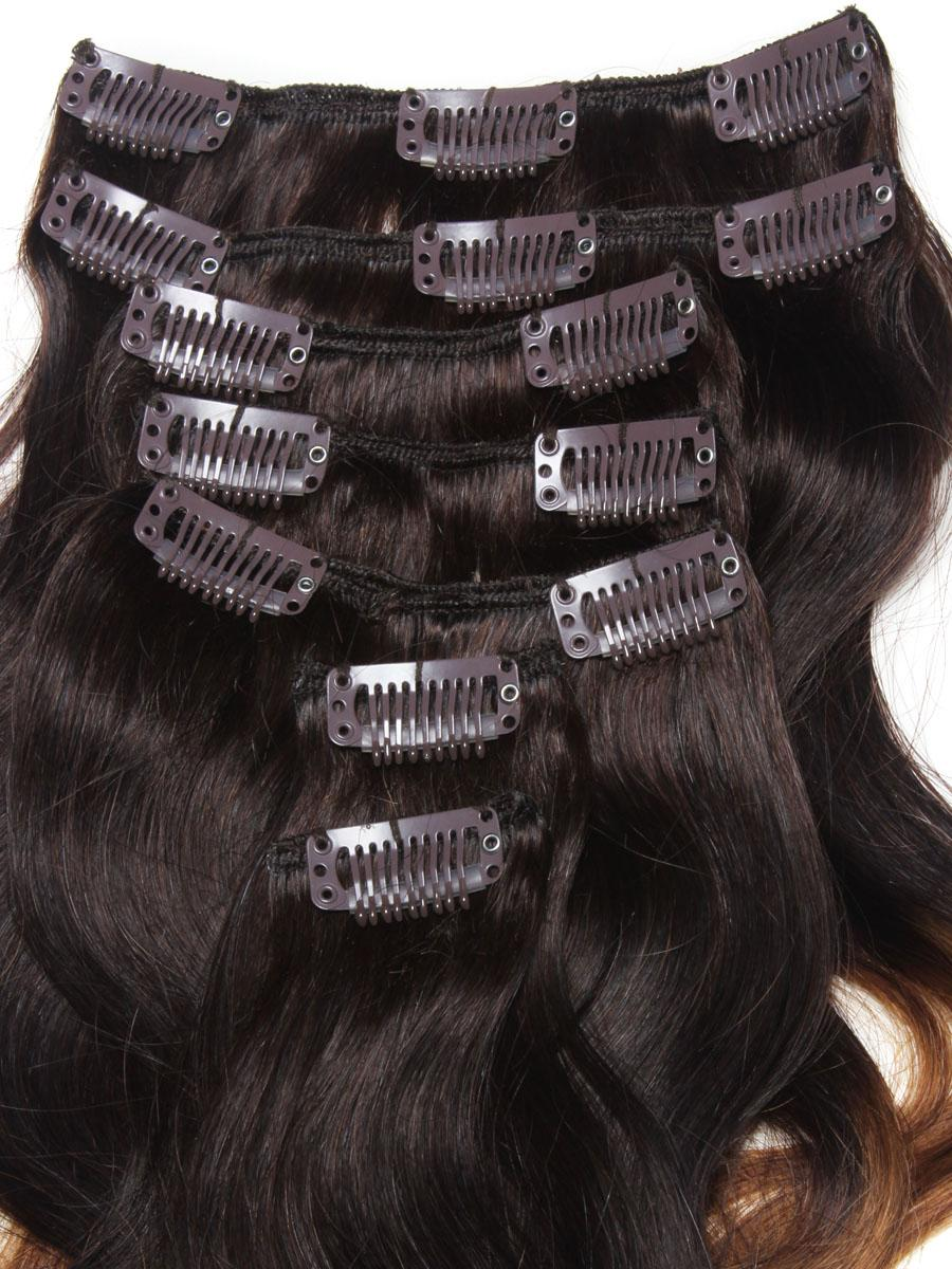 32 Inch Graceful Ombre Clip In Hair Extensions Three Tone Body Wave 9 Pieces no 2