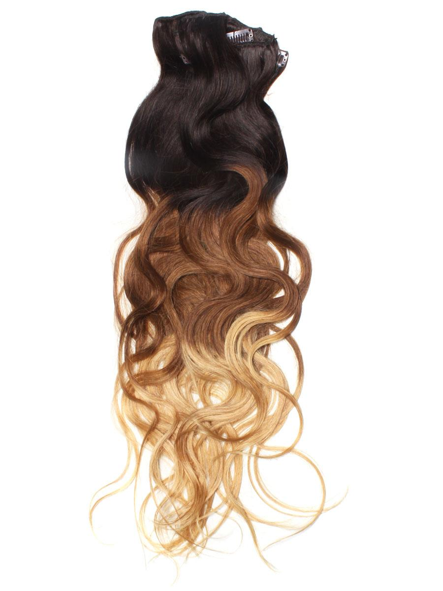 32 Inch Graceful Ombre Clip In Hair Extensions Three Tone Body Wave 9 Pieces no 3