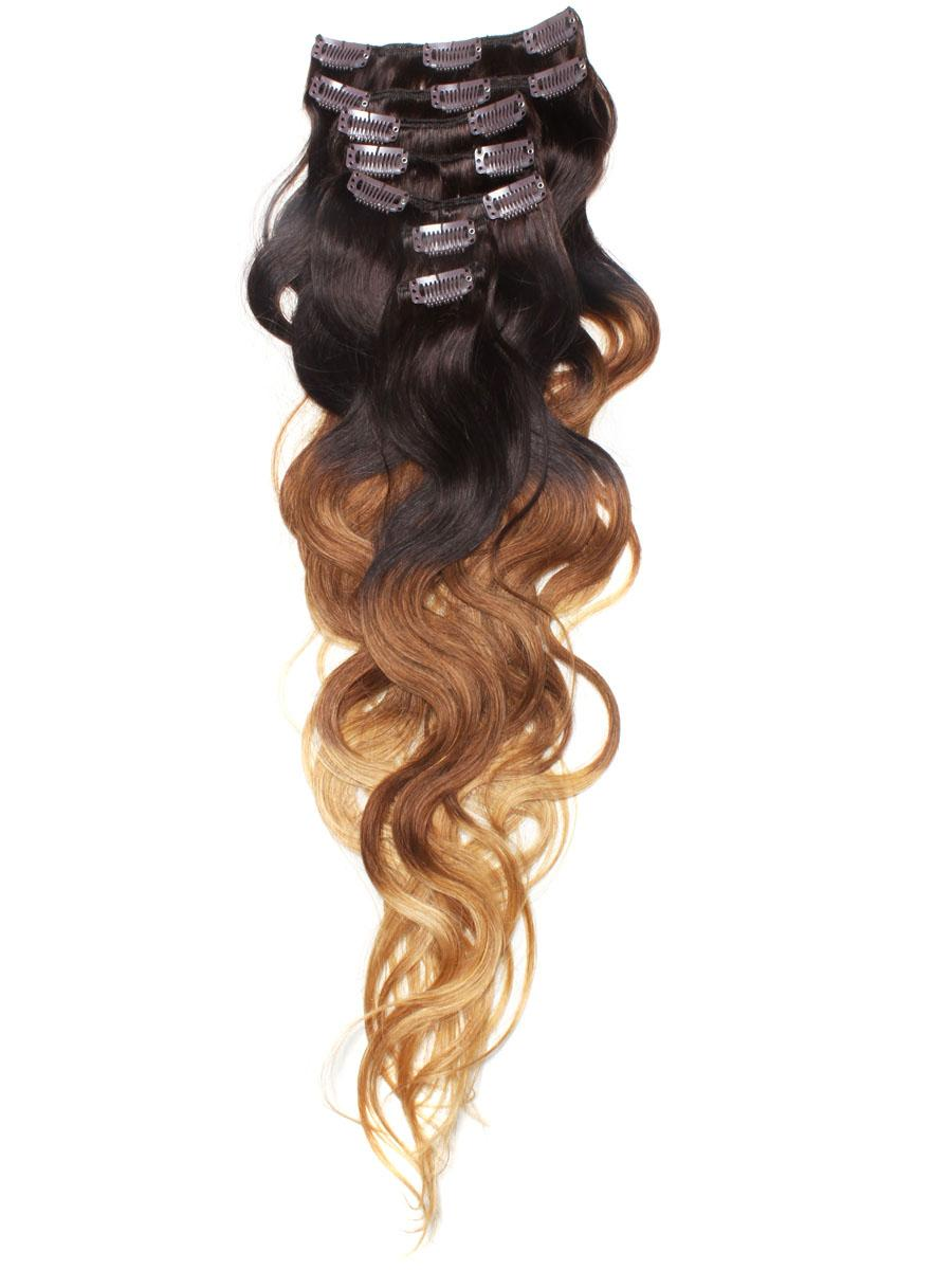 32 Inch Graceful Ombre Clip In Hair Extensions Three Tone Body Wave 9 Pieces no 5