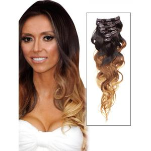 32 Inch Graceful Ombre Clip In Hair Extensions Three Tone Body Wave 9 Pieces