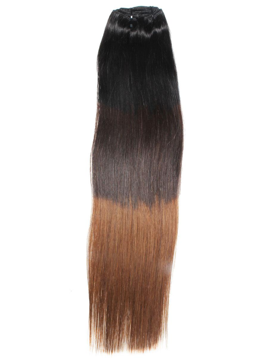 32 Inch Graceful Ombre Clip In Hair Extensions Three Tone Straight 9 Pieces no 1