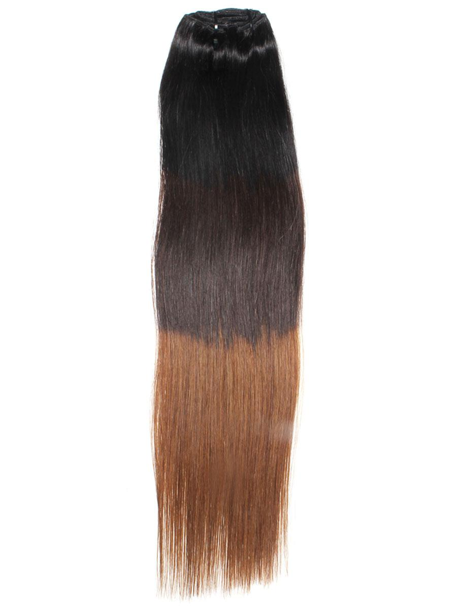 32 Inch Graceful Ombre Clip In Hair Extensions Three Tone Straight 9 Pieces no 3