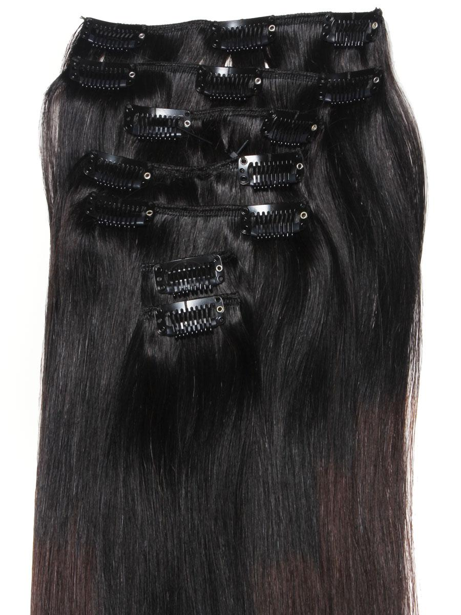 32 Inch Graceful Ombre Clip In Hair Extensions Three Tone Straight 9 Pieces no 5