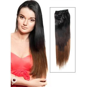 32 Inch Graceful Ombre Clip In Hair Extensions Three Tone Straight 9 Pieces