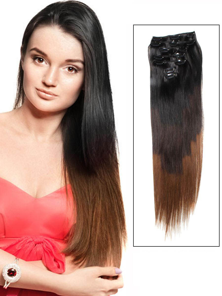 32 Inch Graceful Ombre Clip In Hair Extensions Three Tone Straight 9