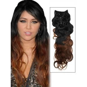 32 Inch Graceful Ombre Clip in Hair Extensions Two Tone Body Wave 9 Pieces