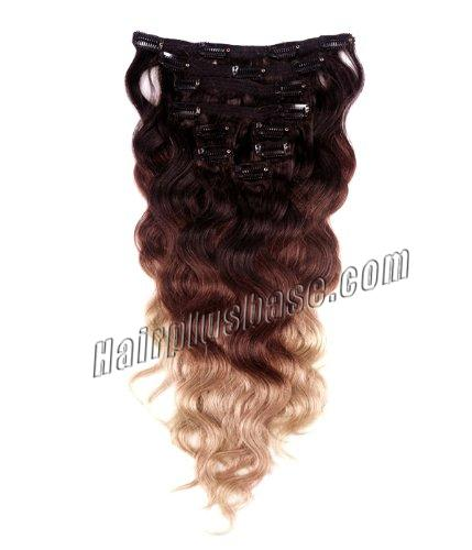32 Inch High Grade Ombre Clip In Human Hair Extensions Three Tone Body Wave 9pcs no 1