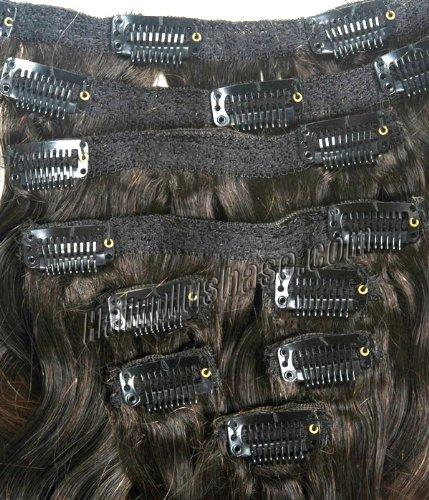 32 Inch High Grade Ombre Clip In Human Hair Extensions Three Tone Body Wave 9pcs no 2