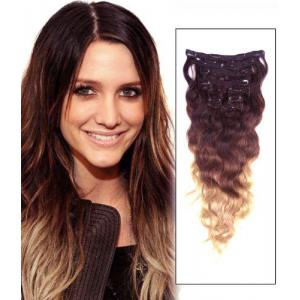 32 Inch High Grade Ombre Clip In Human Hair Extensions Three Tone Body Wave 9pcs