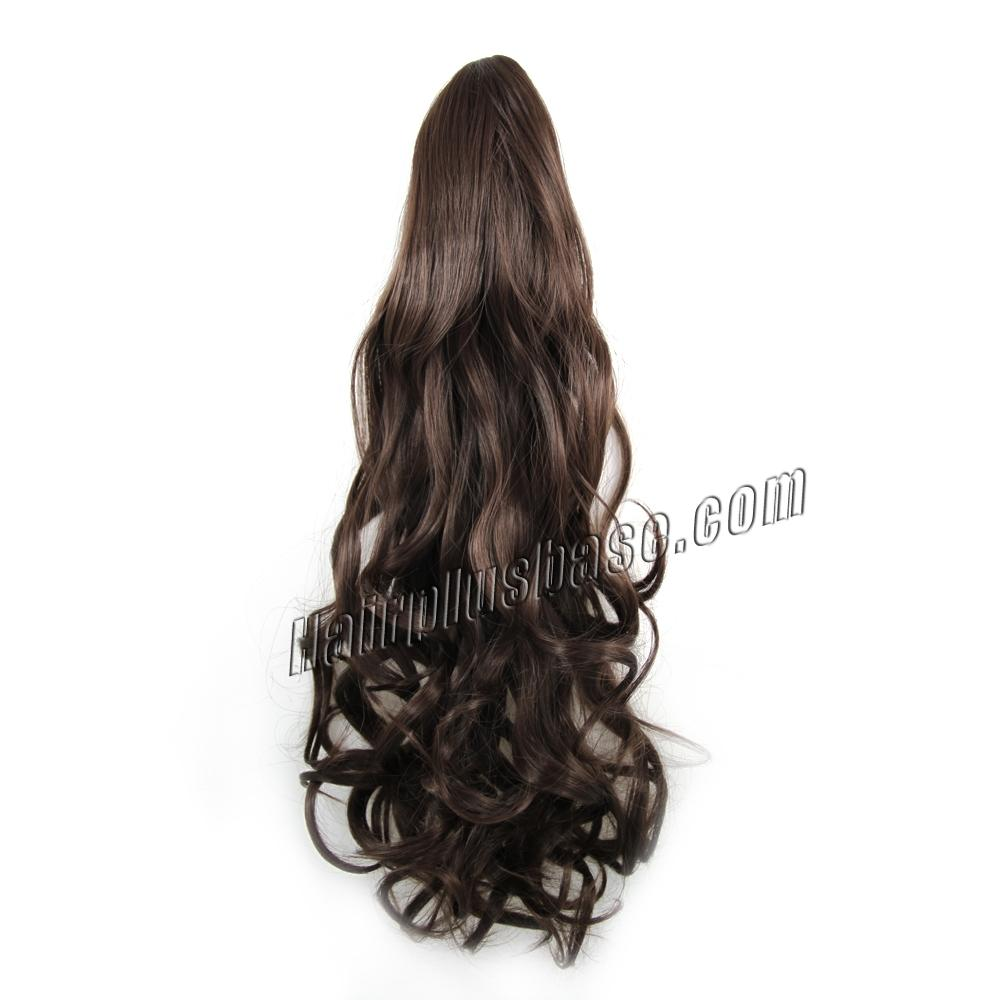 32 Inch Instant Claw Clip Human Hair Ponytail Curly #4 Medium Brown no 1