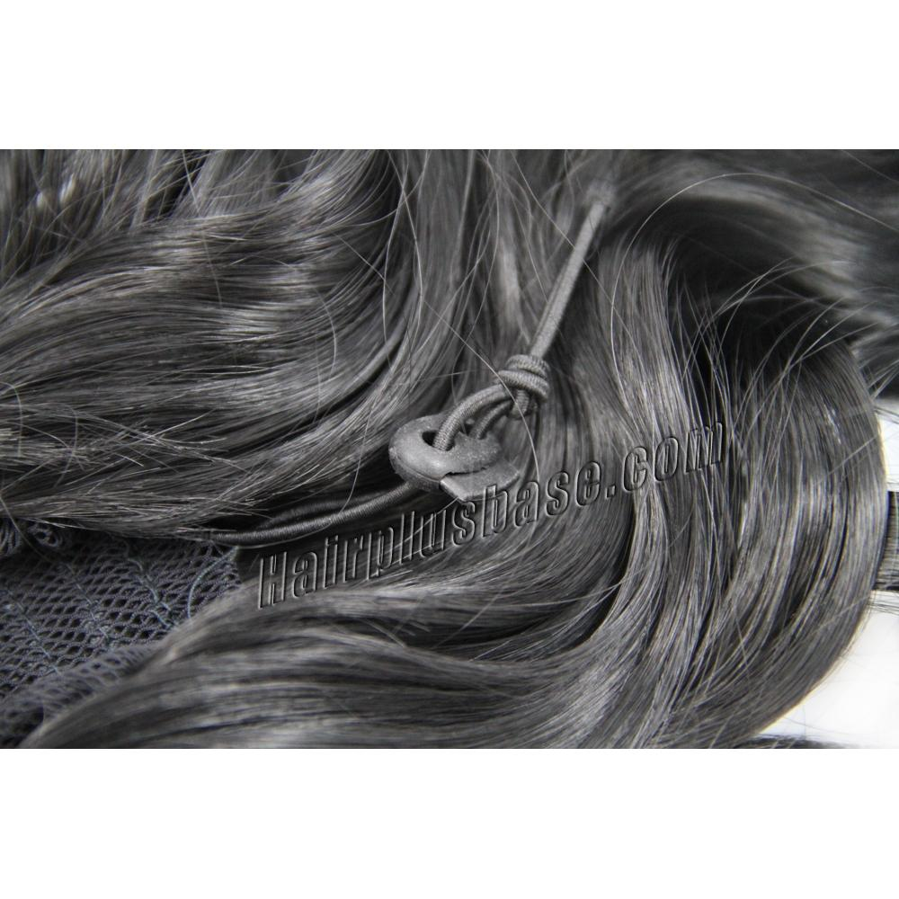 32 Inch Invisible Drawstring Human Hair Ponytail Curly #1 Jet Black no 1