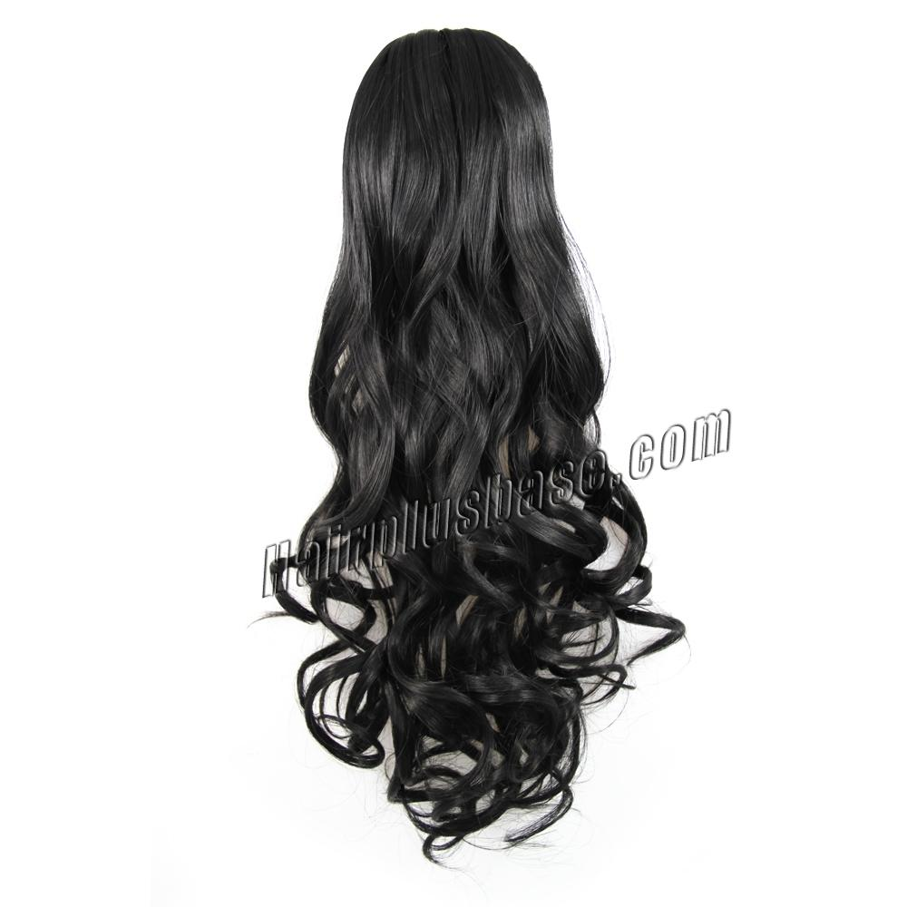 32 Inch Invisible Drawstring Human Hair Ponytail Curly #1 Jet Black no 2