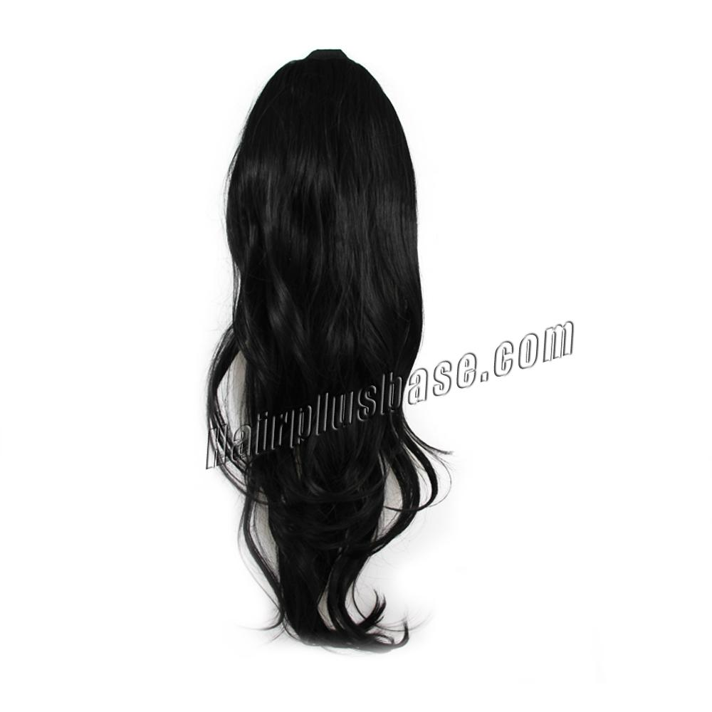 32 Inch Lace/Ribbon Human Hair Ponytail Glamorous Curly #1 Jet Black no 1