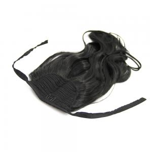 32 Inch Lace/Ribbon Human Hair Ponytail Glamorous Curly #1 Jet Black