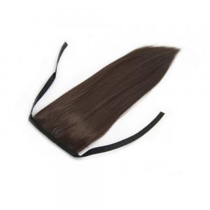 32 Inch Lace/Ribbon Human Hair Ponytail Ladylike Straight #4 Medium Brown