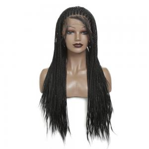 32 Inch Long Braided Wig Box Braids With Baby Hair Synthetic Lace Front Wig Heat Resistant Fiber Black Glueless