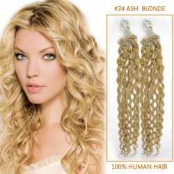 32 Inch Lustrous #24 Ash Blonde Curly Micro Loop Hair Extensions 100 Strands