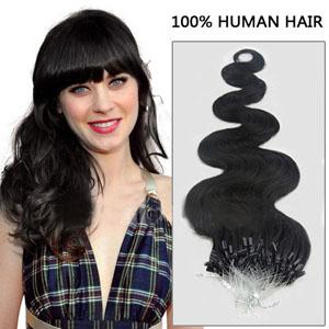 32 Inch Nicety #1 Jet Black Body Wave Micro Loop Hair Extensions 100 Strands