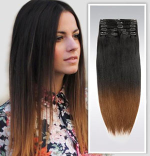 32 Inch Ombre Clean and Funky Clip in Hair Extensions Two Tone Straight 9 Pieces