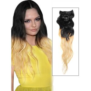 32 Inch Pecfect Ombre Clip in Hair Extensions Two Tone Body Wave 9 Pieces