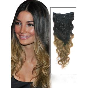 32 Inch Personalized Two Colors Ombre Clip In Indian Remy Hair Extensions Body Wave 9pcs
