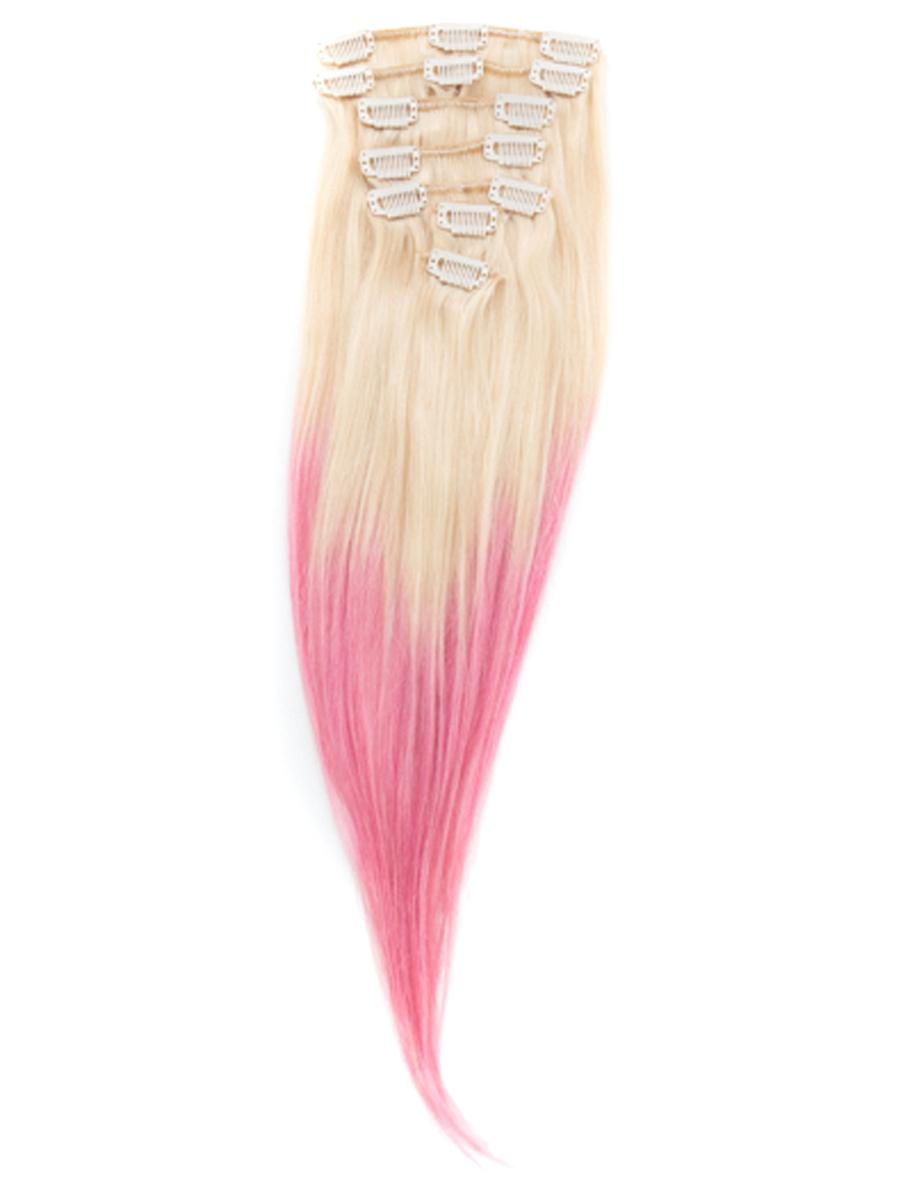 32 Inch Pink And Bleach Blonde Ombre Clip In Hair Extensions Two