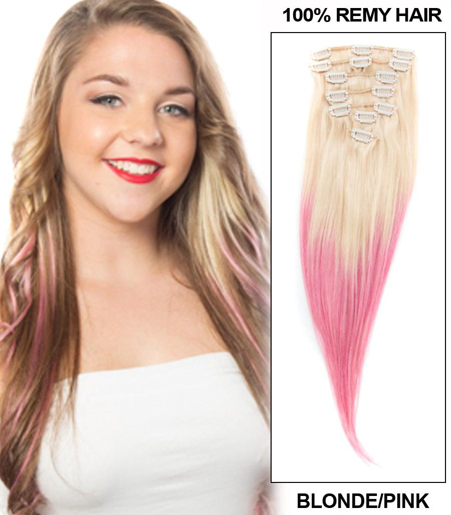 32 Inch Pink and Bleach Blonde Ombre Clip in Hair Extensions Two Tone Straight 9 Pieces