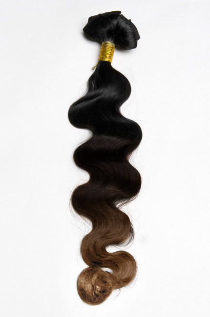32 Inch Retro Three Colors Ombre Clip In Indian Remy Hair Extensions Body Wave 9pcs no 1