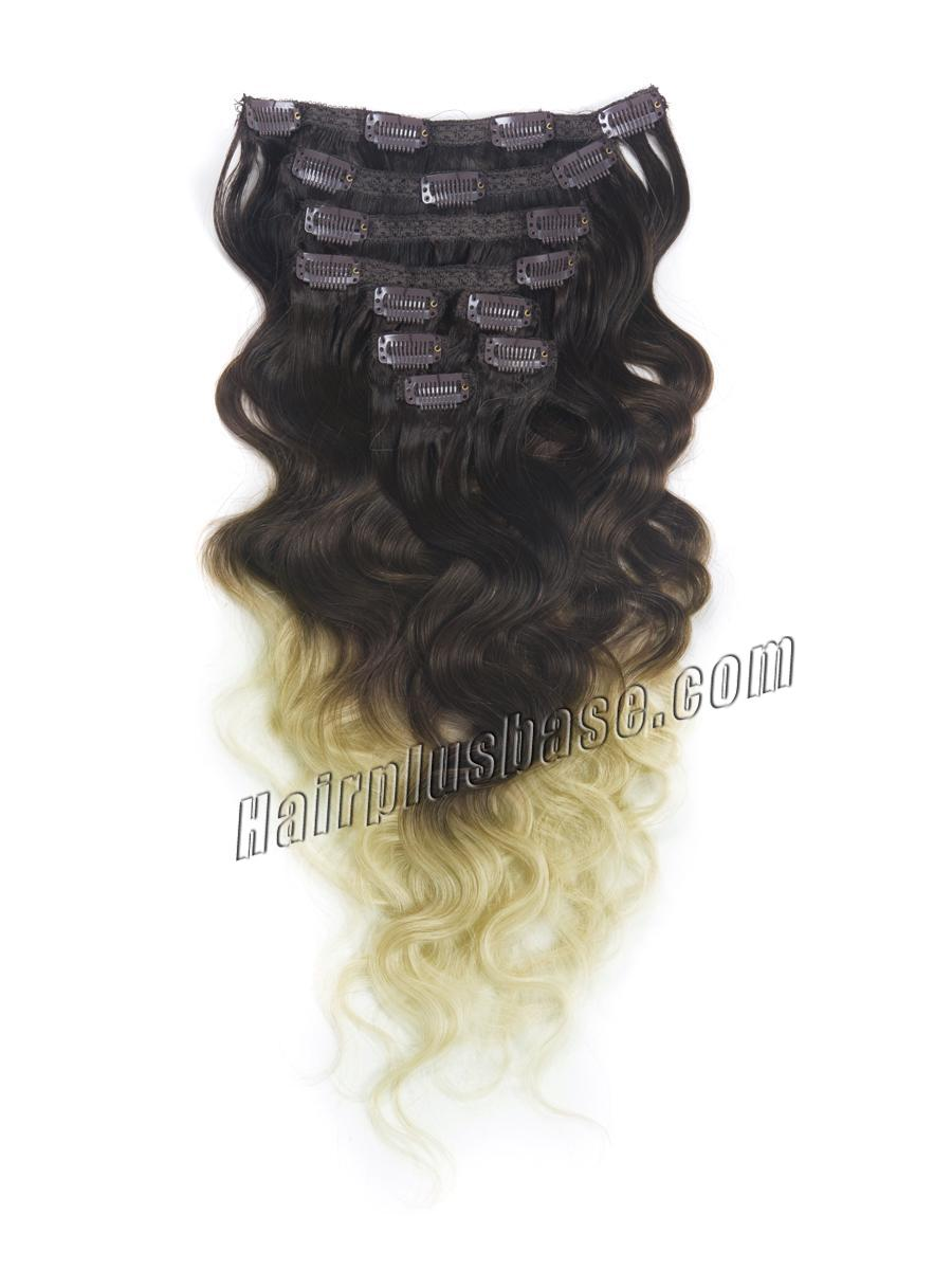 32 Inch Special Three Colors Ombre Clip In Remy Hair Extensions Body Wave 9pcs no 1