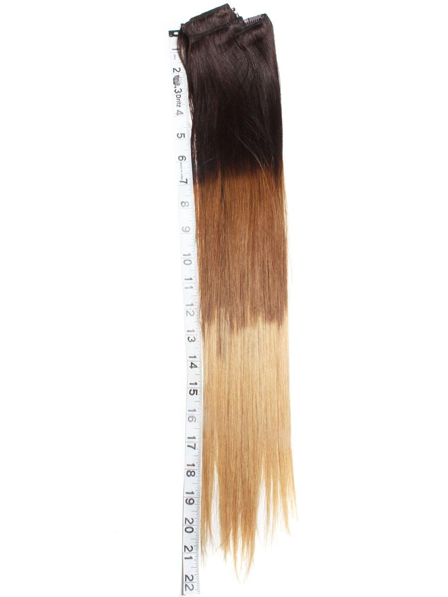 32 Inch Stylish Ombre Clip In Hair Extensions Three Tone Straight 9 Pieces no 1
