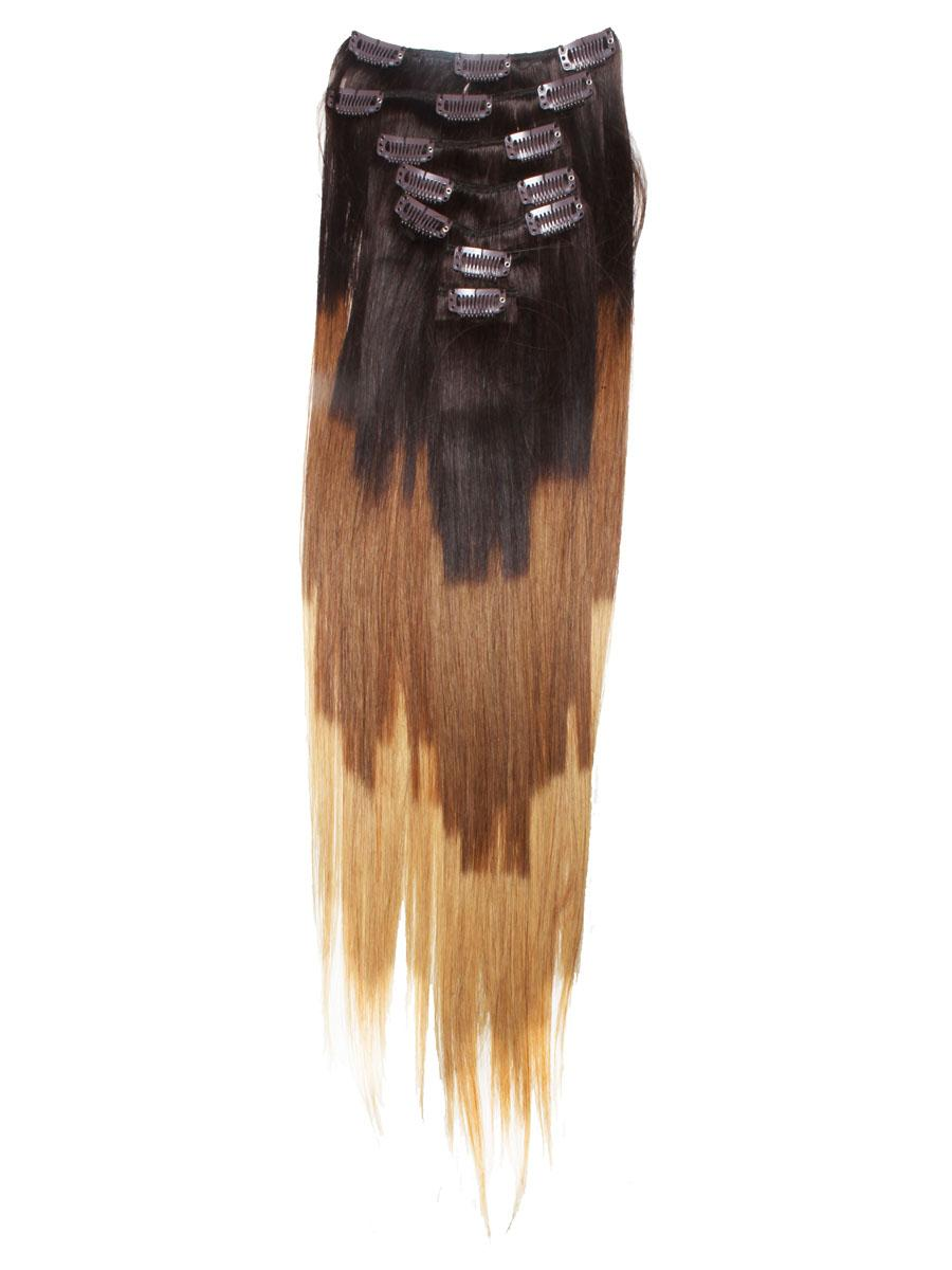 32 Inch Stylish Ombre Clip In Hair Extensions Three Tone Straight 9 Pieces no 2