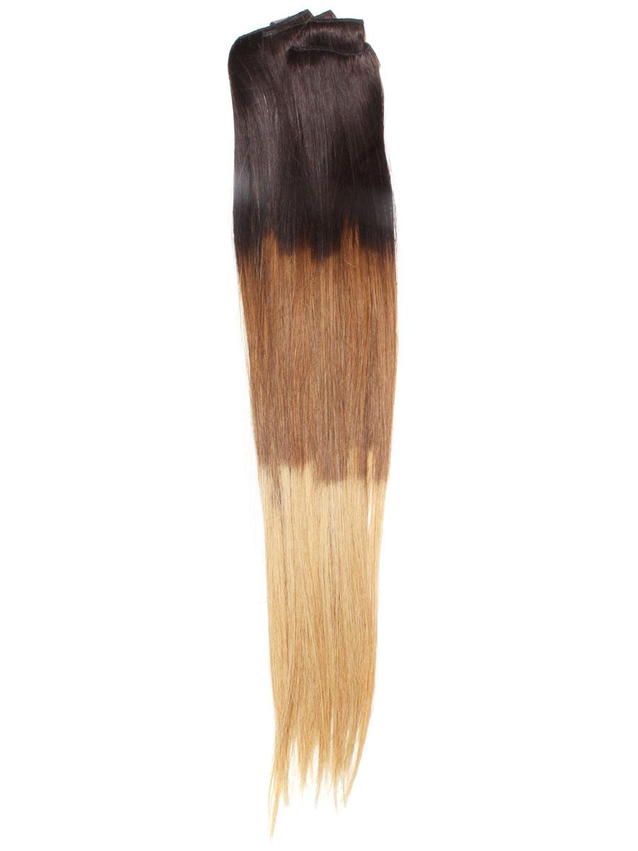 32 Inch Stylish Ombre Clip In Hair Extensions Three Tone Straight 9 Pieces no 3