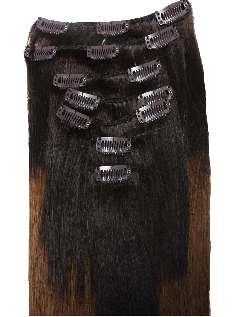 32 Inch Stylish Ombre Clip In Hair Extensions Three Tone Straight 9 Pieces no 7