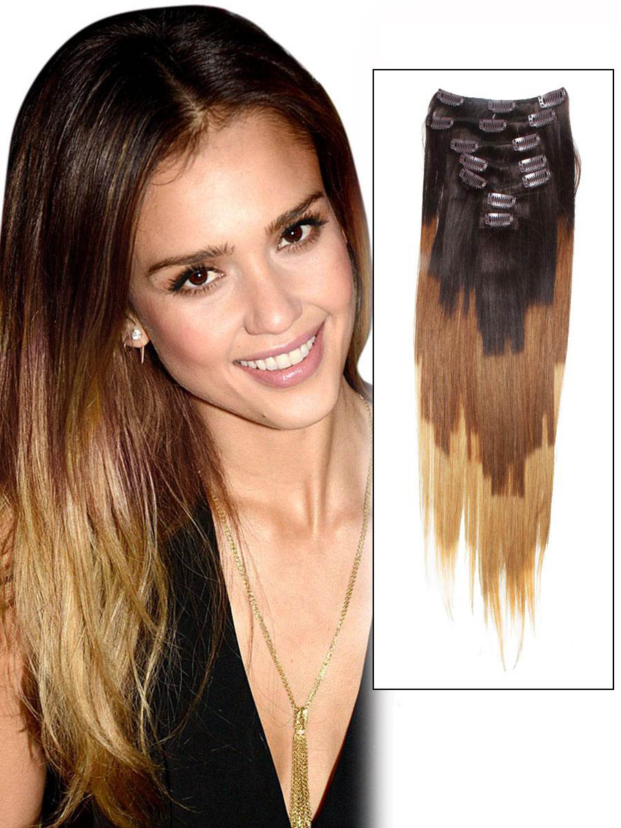 32 Inch Stylish Ombre Clip In Hair Extensions Three Tone Straight 9 Pieces