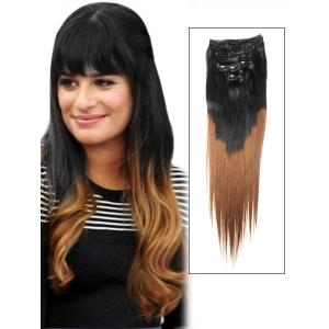 32 Inch Stylish Ombre Clip in Hair Extensions Two Tone Straight 9 Pieces