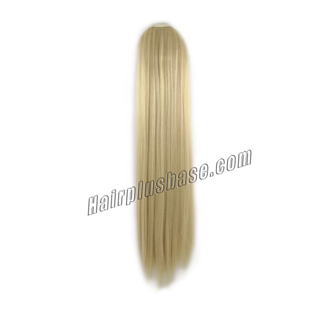 32 Inch Superb Lace/Ribbon Human Hair Ponytail Straight #613 Bleach Blonde no 1