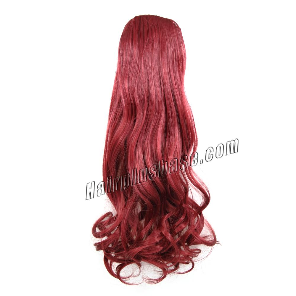 32 Inch Trendy Drawstring Human Hair Ponytail Curly Red no 1