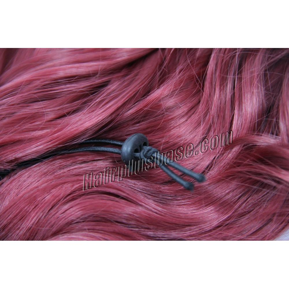 32 Inch Trendy Drawstring Human Hair Ponytail Curly Red no 2